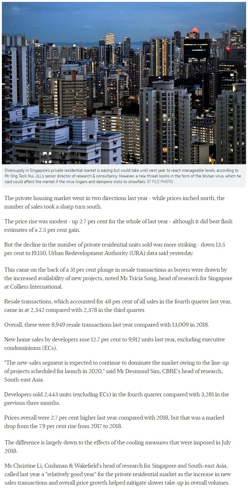 Penrose - Singapore private home prices inch up 2.7% for 2019 Part 1